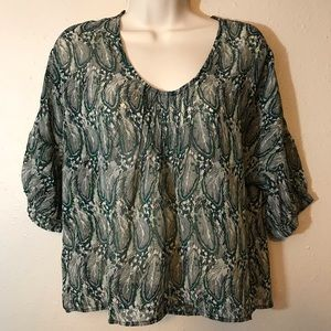 Green Feather Impeccable Pig Peasant Top Medium